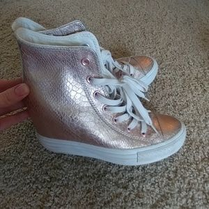 Rose gold converse with wedge
